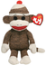 beanie socks sock monkey brown button